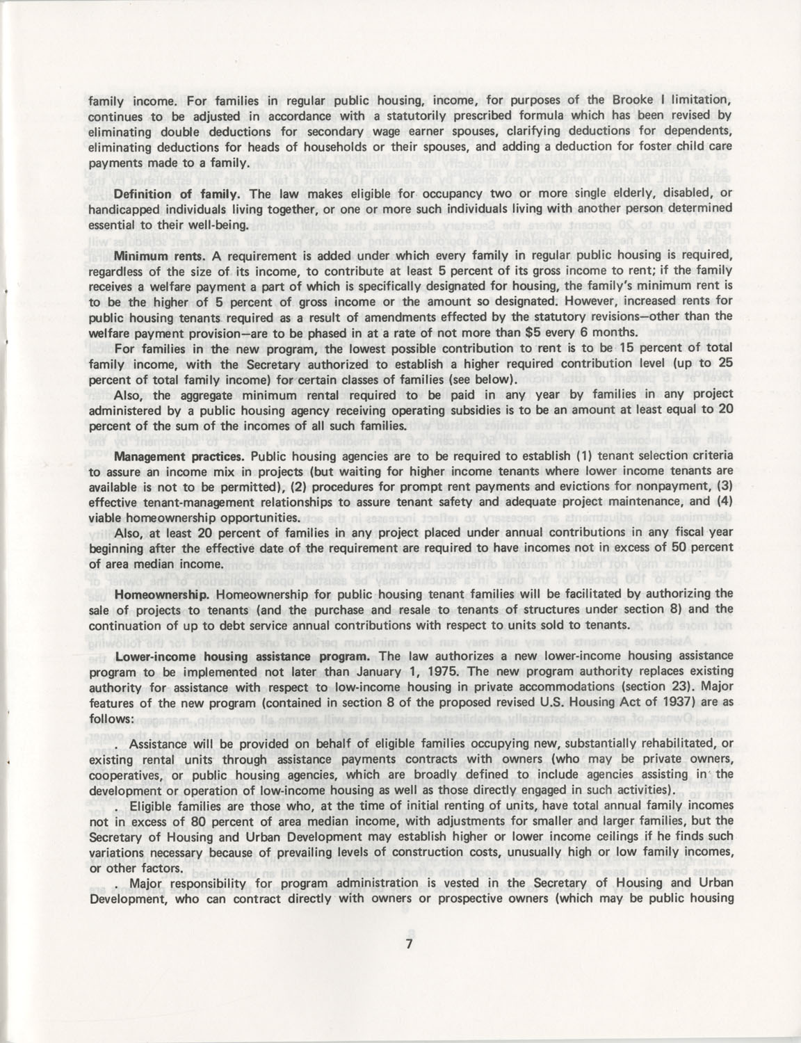 Summary of the Housing and Community Development Act of 1974, Page 7