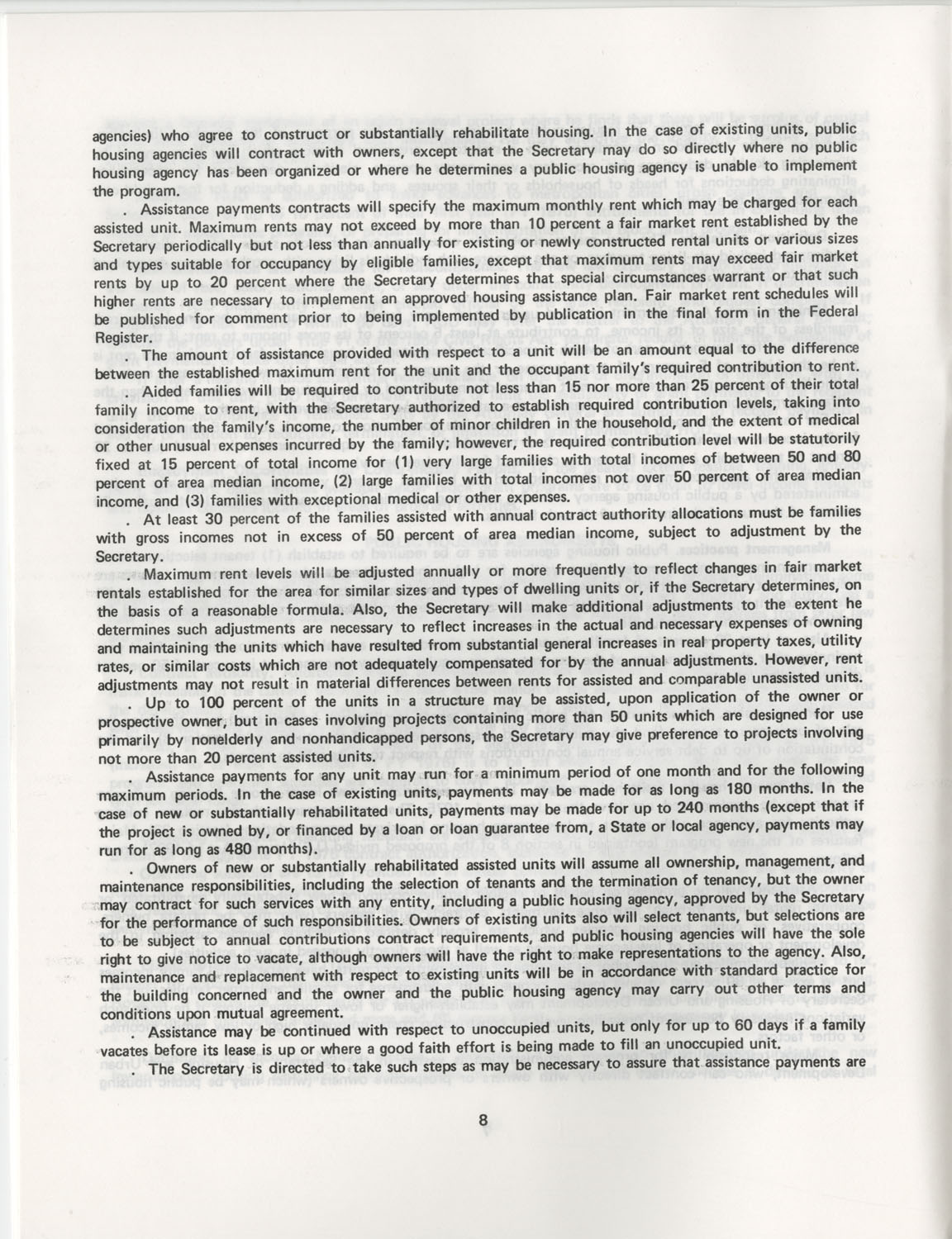 Summary of the Housing and Community Development Act of 1974, Page 8