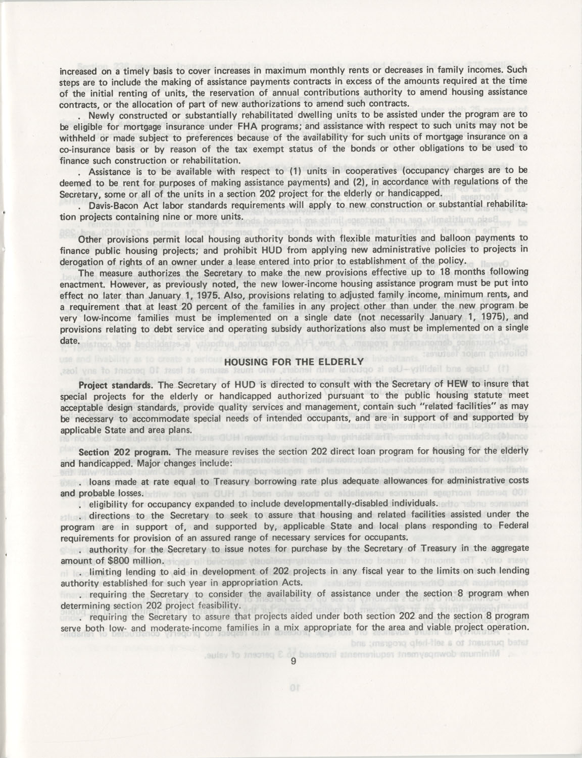Summary of the Housing and Community Development Act of 1974, Page 9