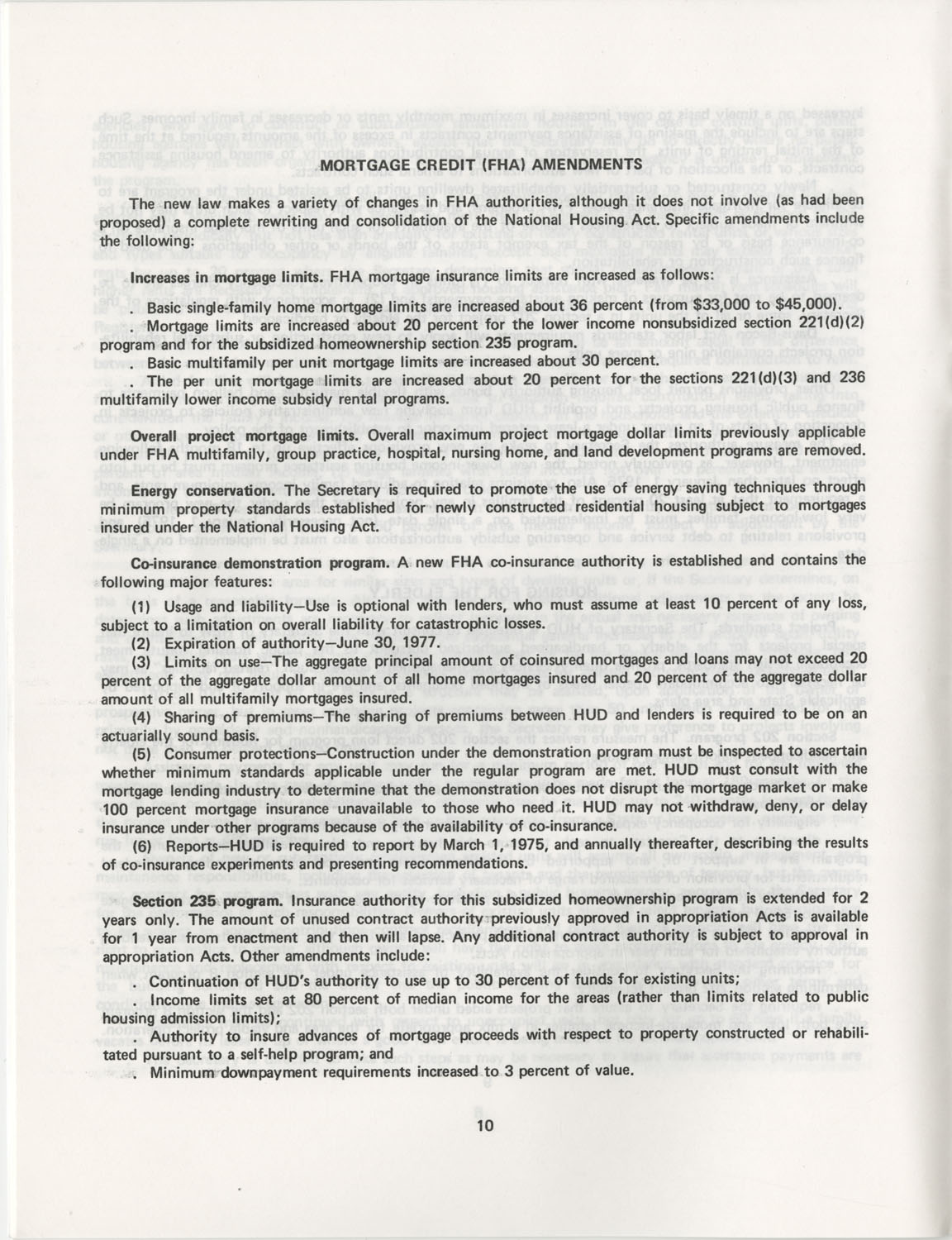 Summary of the Housing and Community Development Act of 1974, Page 10