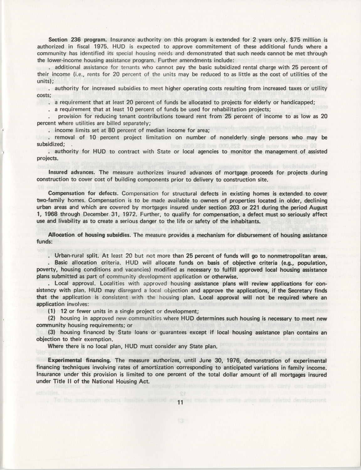 Summary of the Housing and Community Development Act of 1974, Page 11