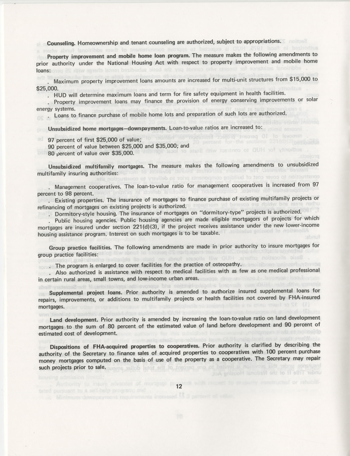 Summary of the Housing and Community Development Act of 1974, Page 12