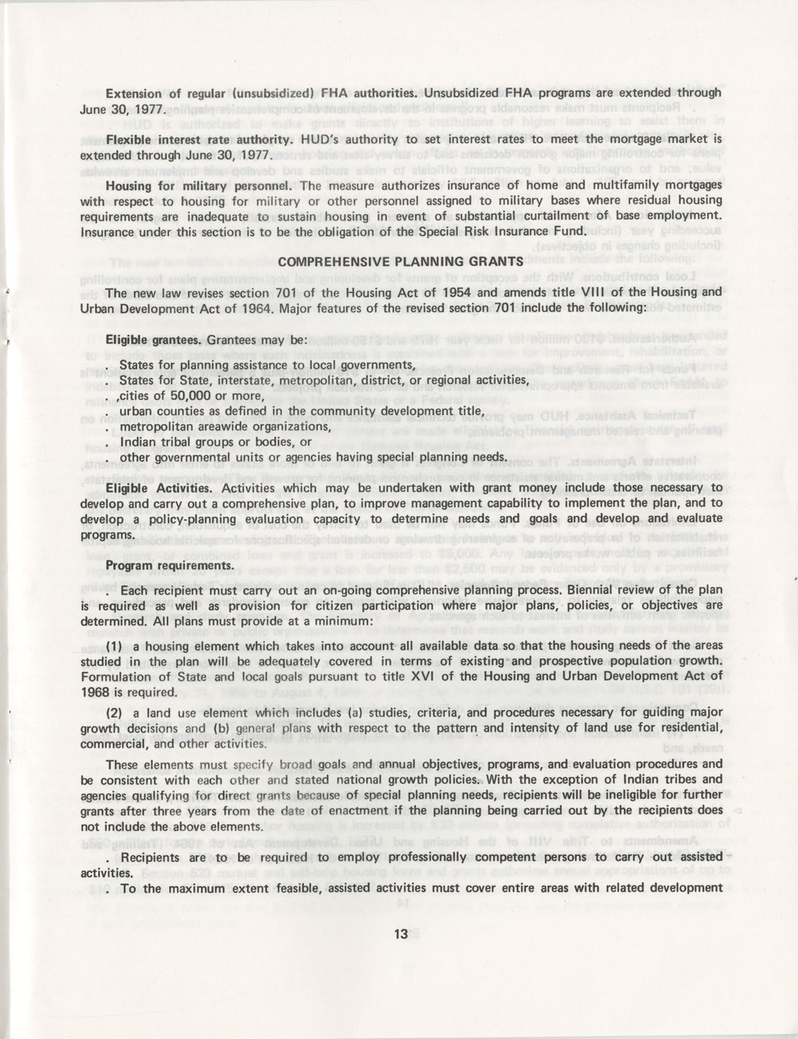 Summary of the Housing and Community Development Act of 1974, Page 13