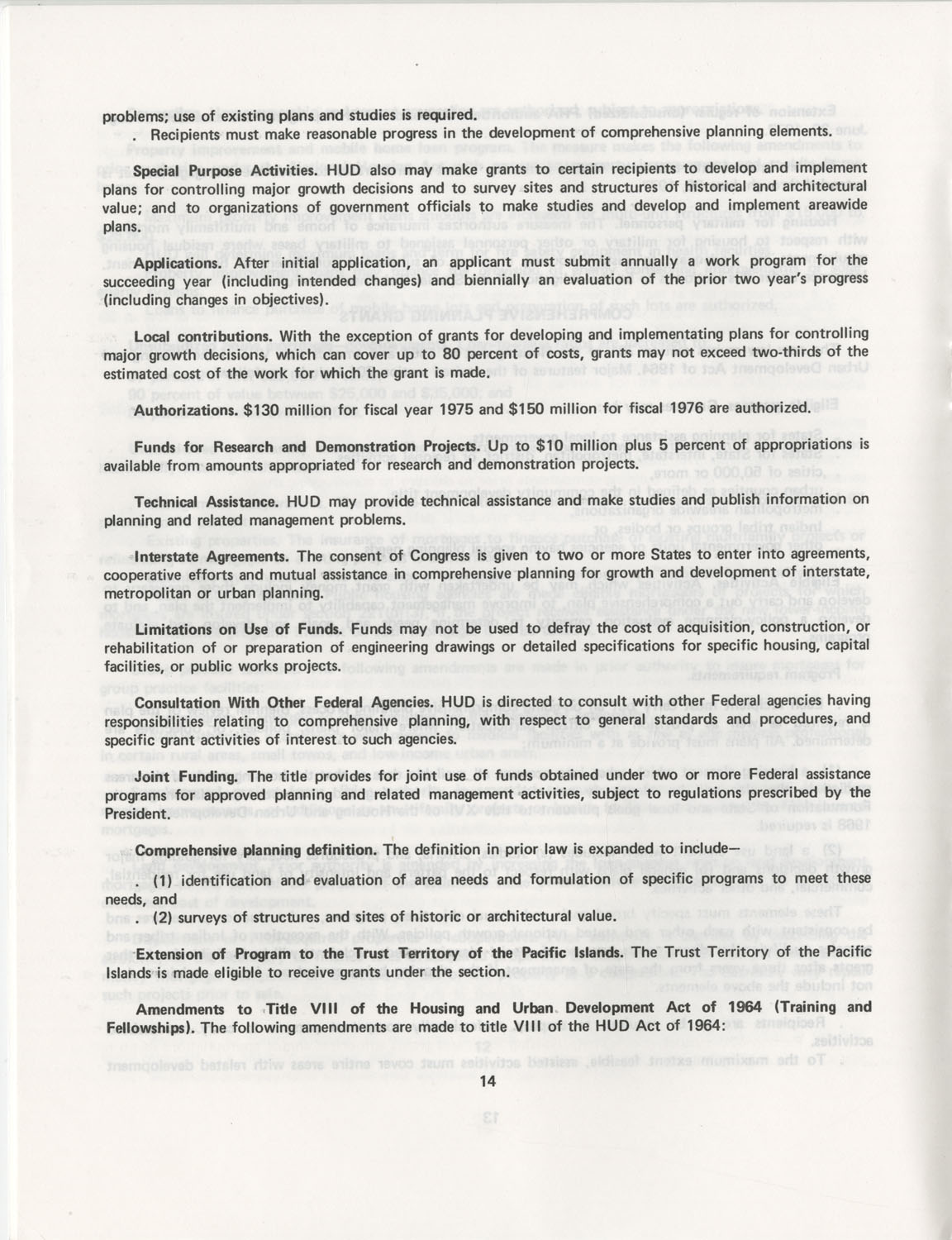 Summary of the Housing and Community Development Act of 1974, Page 14