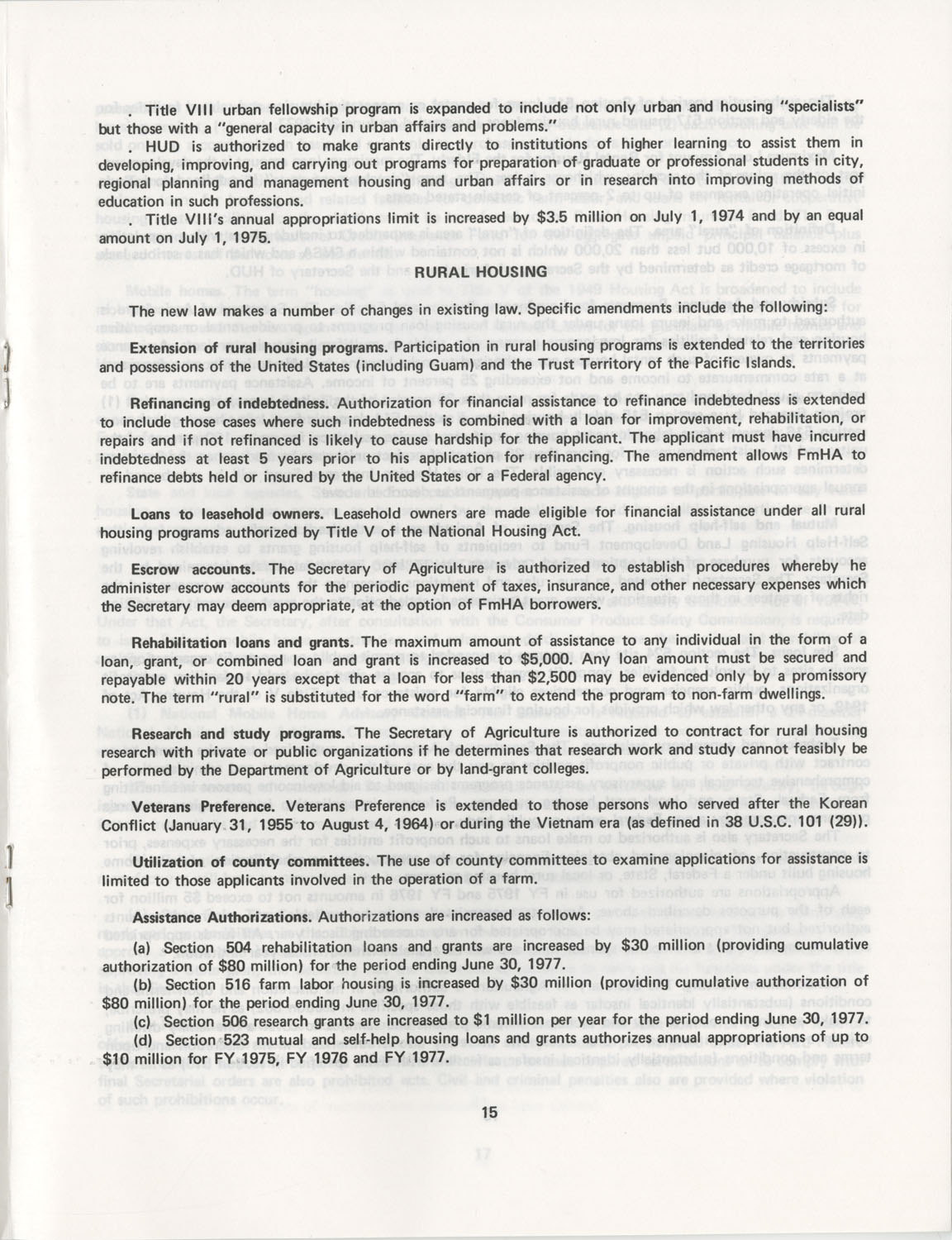 Summary of the Housing and Community Development Act of 1974, Page 15