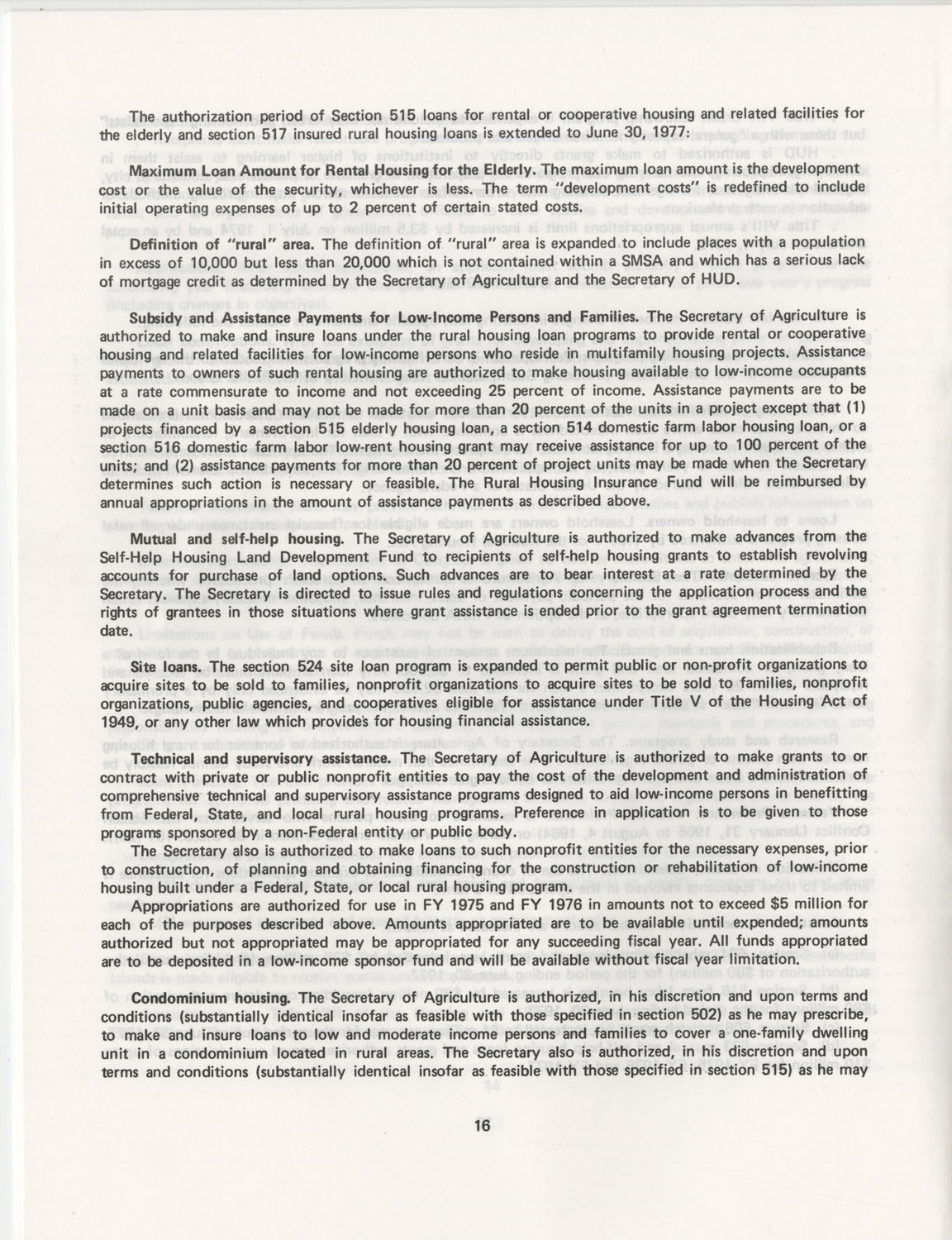 Summary of the Housing and Community Development Act of 1974, Page 16