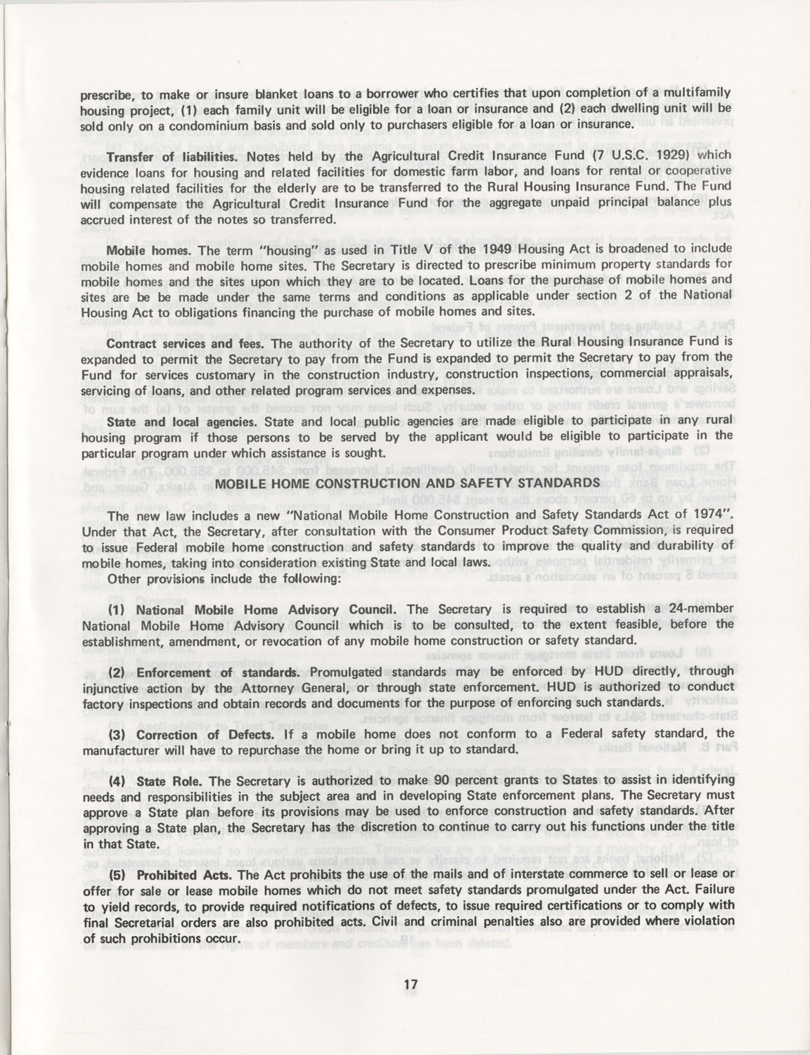 Summary of the Housing and Community Development Act of 1974, Page 17