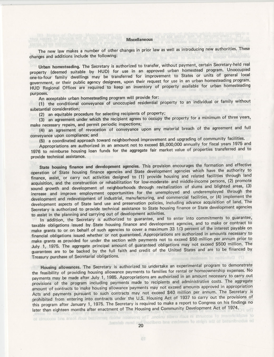 Summary of the Housing and Community Development Act of 1974, Page 20