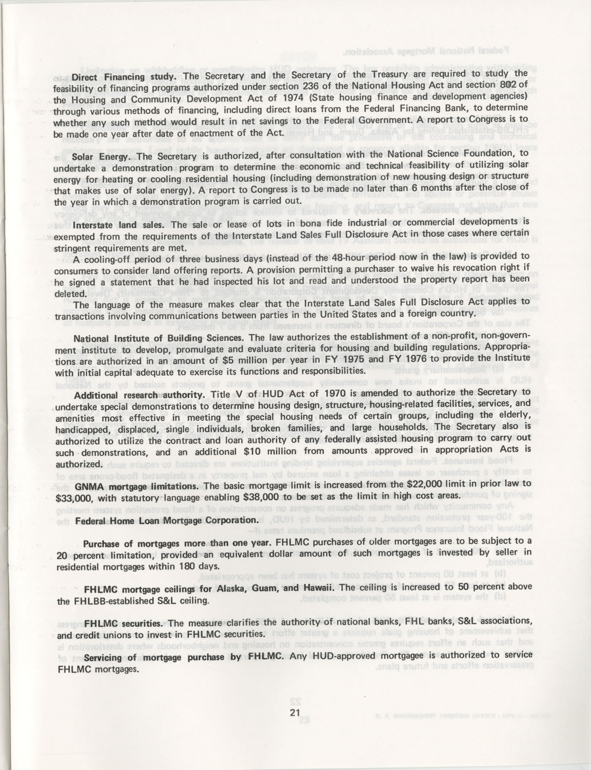 Summary of the Housing and Community Development Act of 1974, Page 21