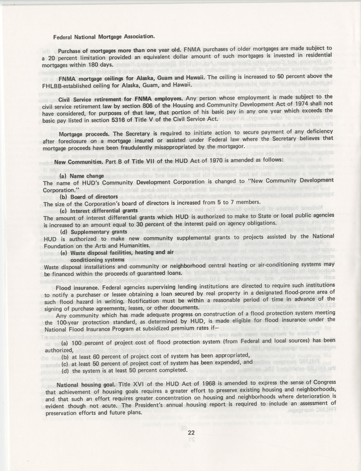 Summary of the Housing and Community Development Act of 1974, Page 22