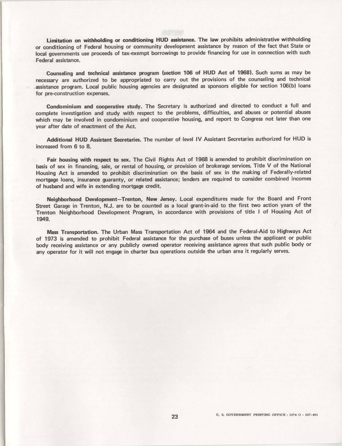 Summary of the Housing and Community Development Act of 1974, Page 23