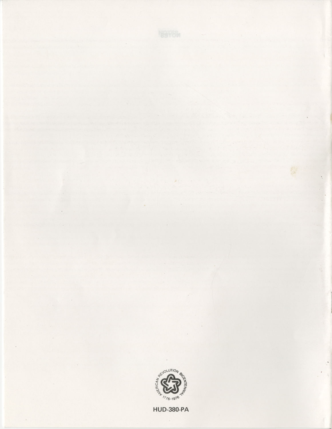 Summary of the Housing and Community Development Act of 1974, Back Cover