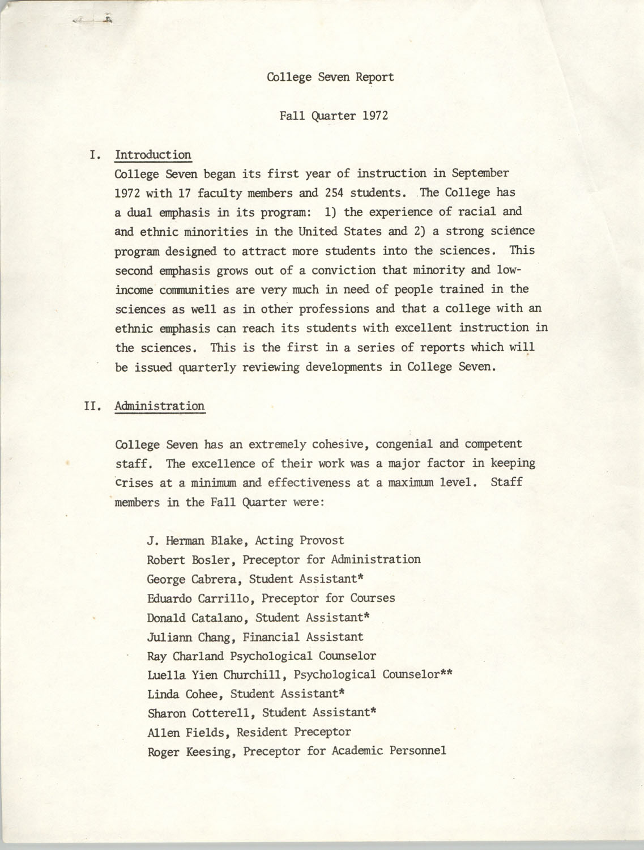 College Seven Report, Fall Quarter 1972, Page 1