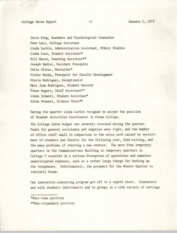 College Seven Report, Fall Quarter 1972, Page 2