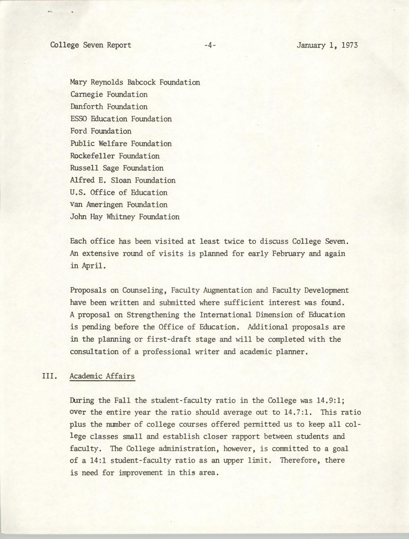 College Seven Report, Fall Quarter 1972, Page 4
