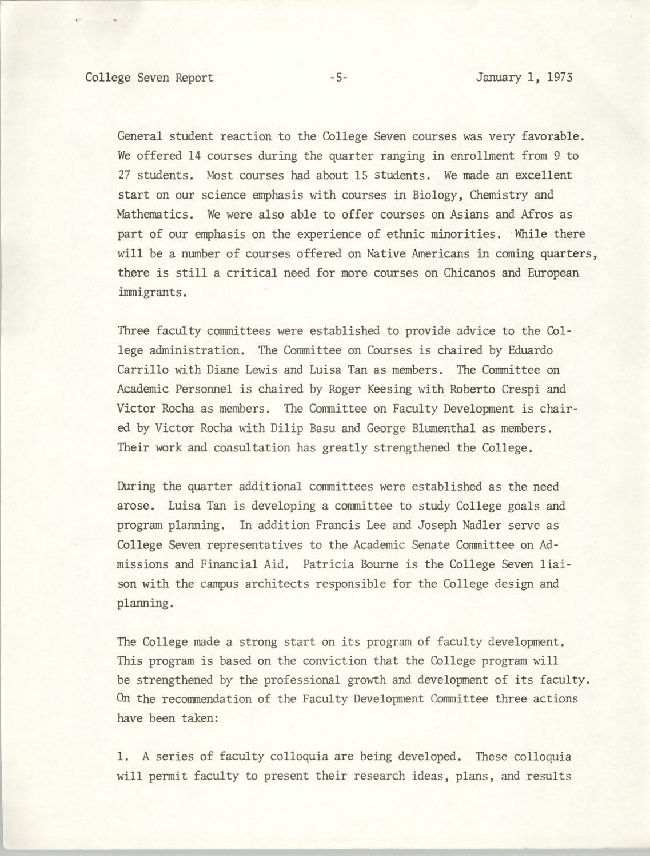 College Seven Report, Fall Quarter 1972, Page 5