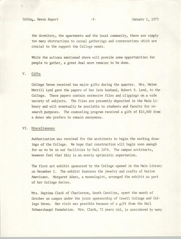 College Seven Report, Fall Quarter 1972, Page 8