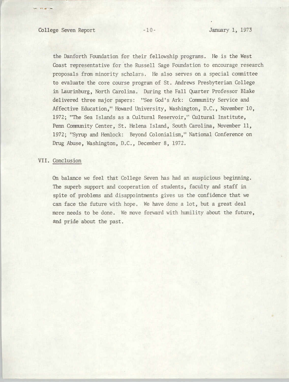 College Seven Report, Fall Quarter 1972, Page 10