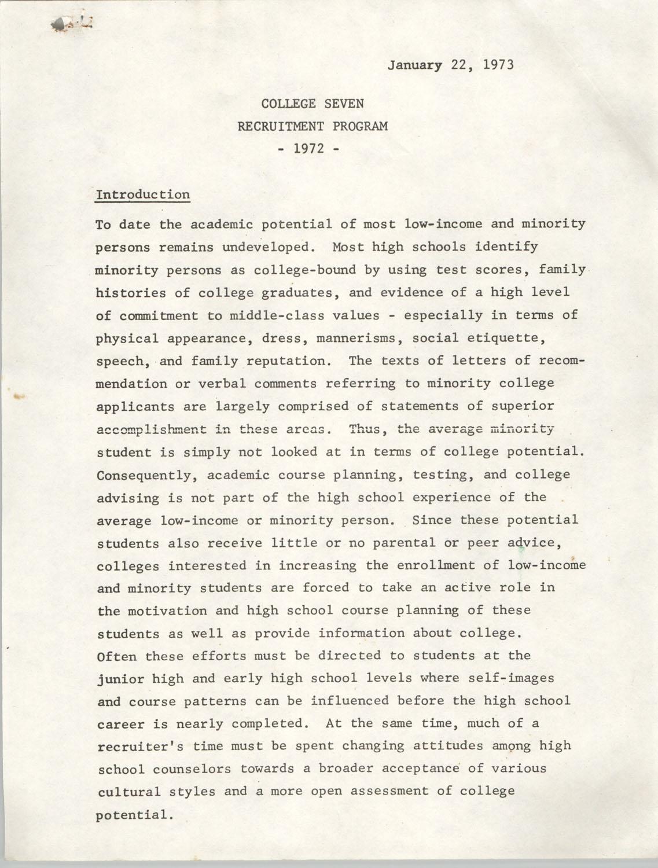 College Seven Report, Recruitment Program 1972, Page 1
