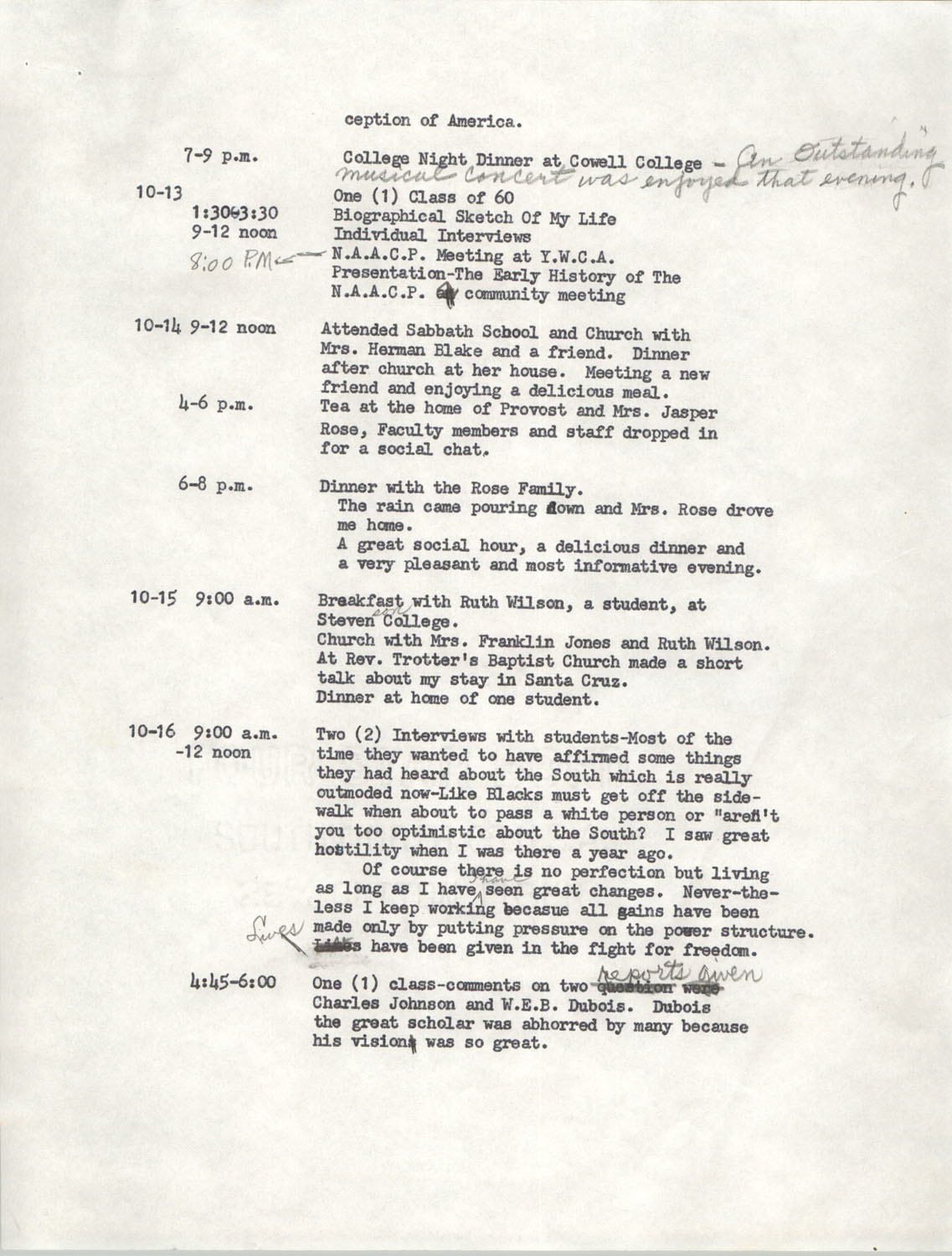 Schedule for Sojourn in Santa Cruz, College Seven, October 8 to November 1, 1972, Page 2