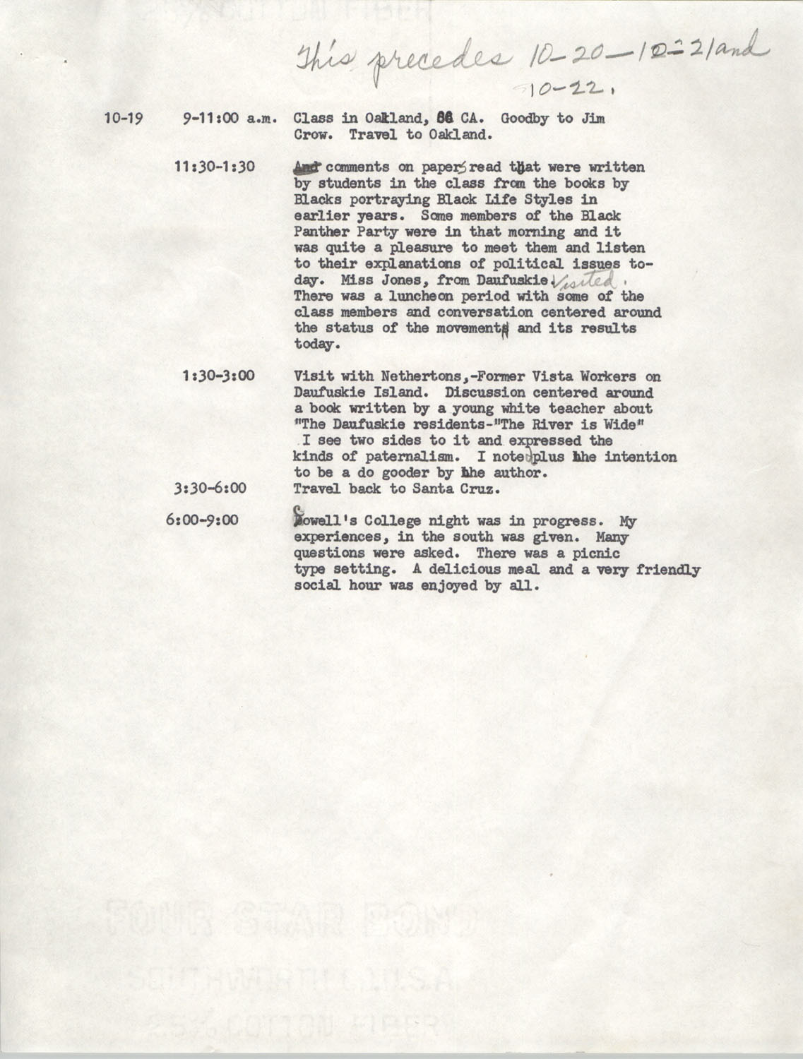Schedule for Sojourn in Santa Cruz, College Seven, October 8 to November 1, 1972, Page 3