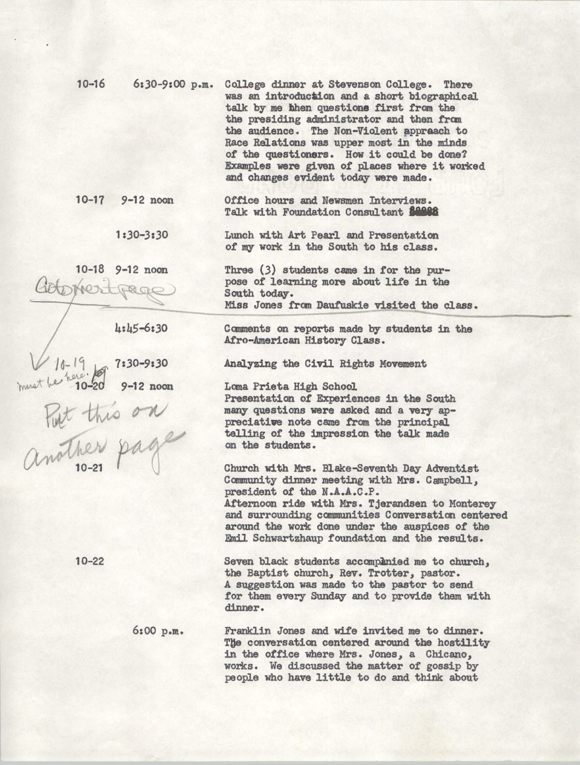 Schedule for Sojourn in Santa Cruz, College Seven, October 8 to November 1, 1972, Page 4