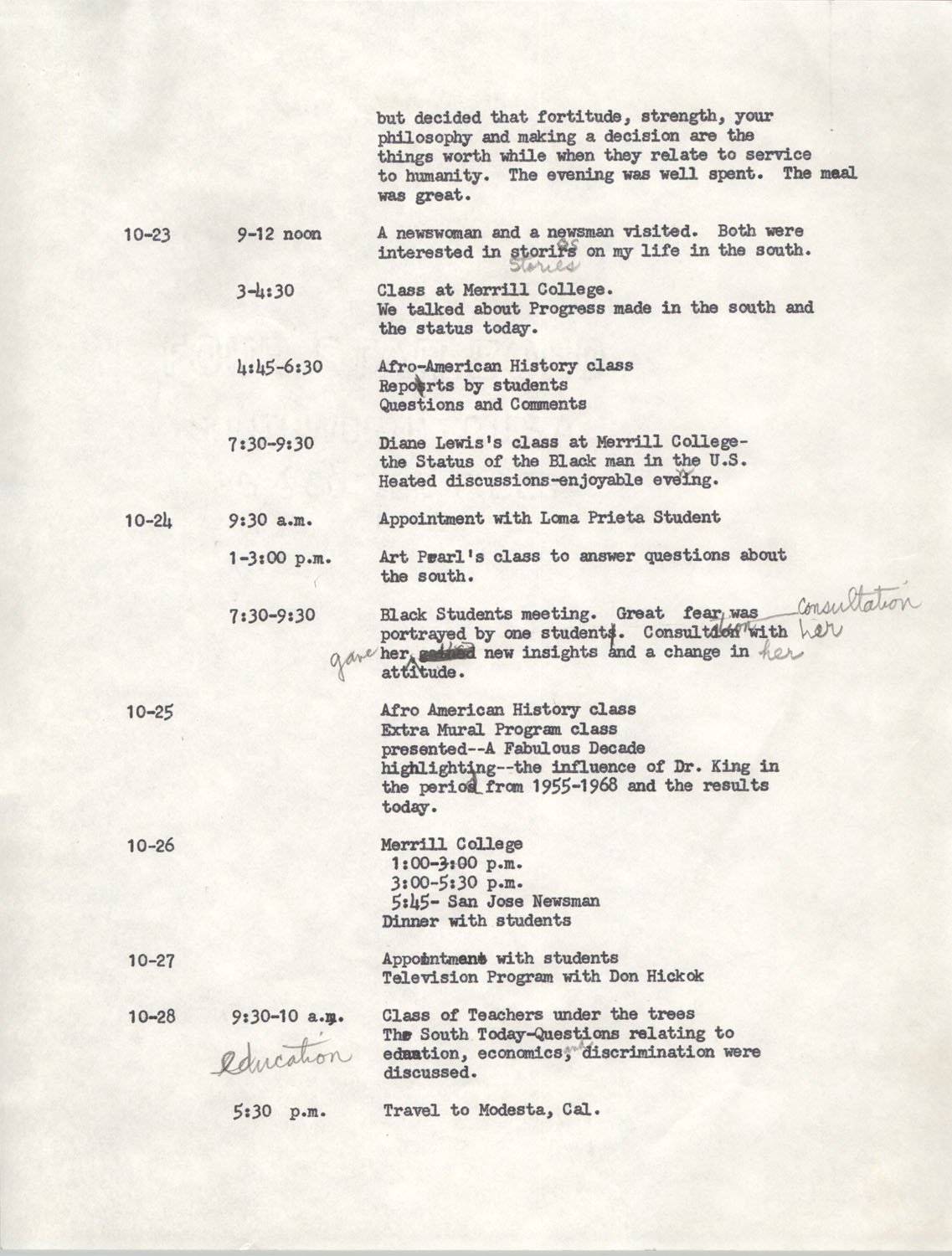 Schedule for Sojourn in Santa Cruz, College Seven, October 8 to November 1, 1972, Page 5