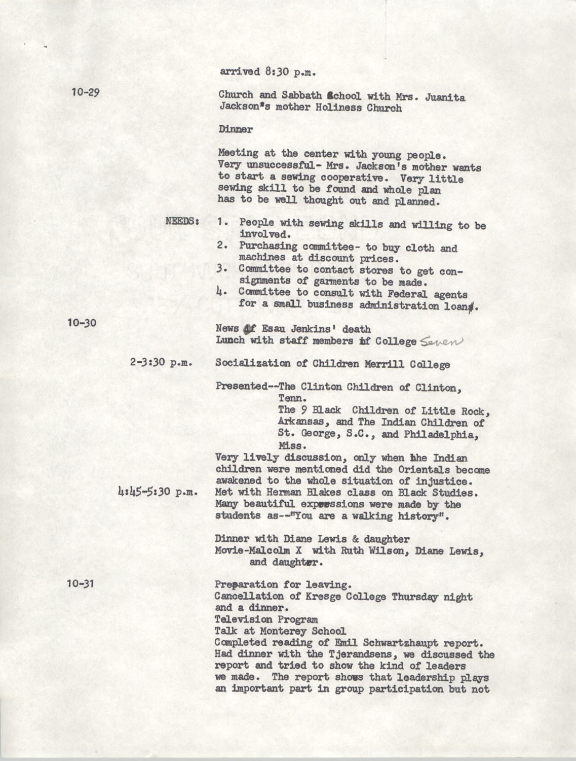 Schedule for Sojourn in Santa Cruz, College Seven, October 8 to November 1, 1972, Page 6