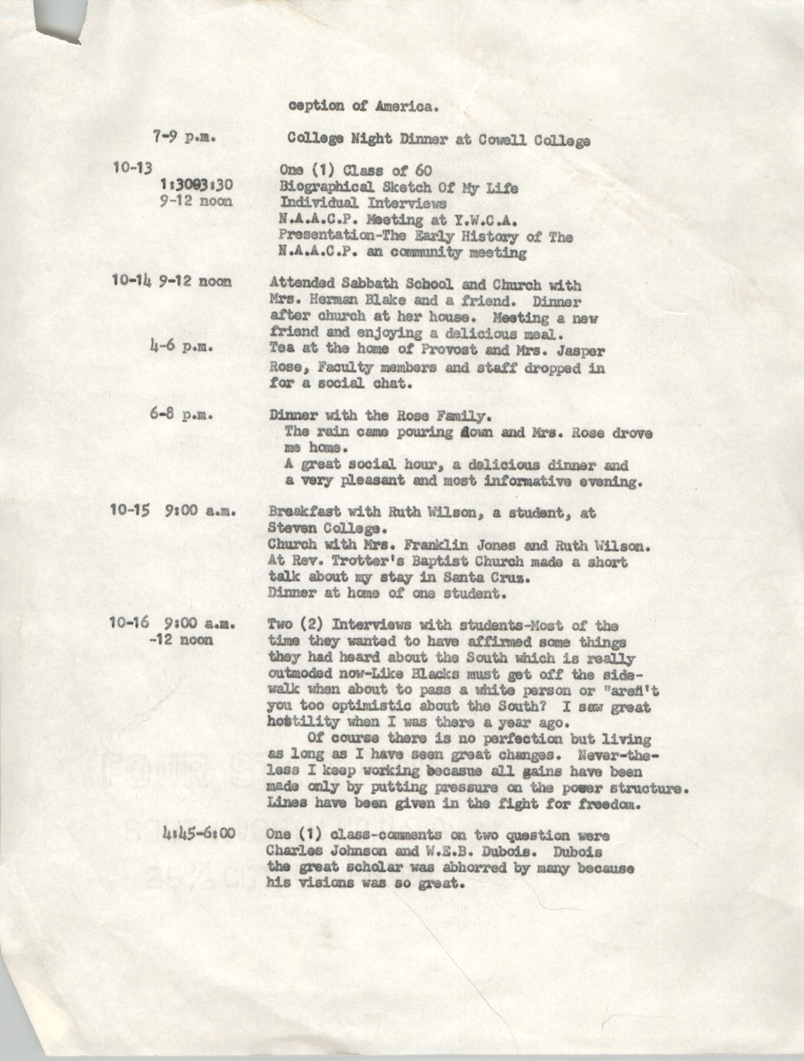 Schedule for Sojourn in Santa Cruz, College Seven, October 8 to November 1, 1972, Page 8