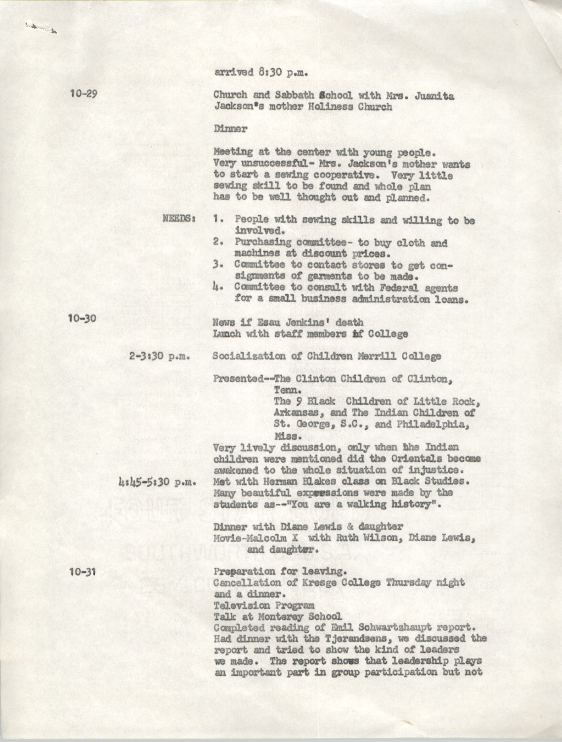 Schedule for Sojourn in Santa Cruz, College Seven, October 8 to November 1, 1972, Page 10