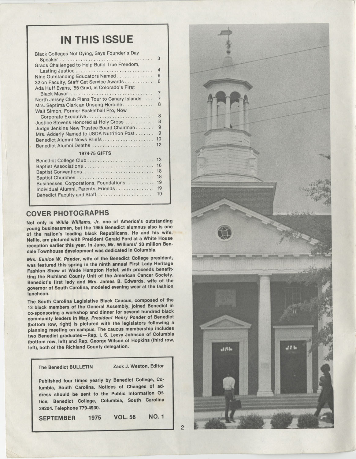 The Benedict Bulletin, September 1975, Page 2