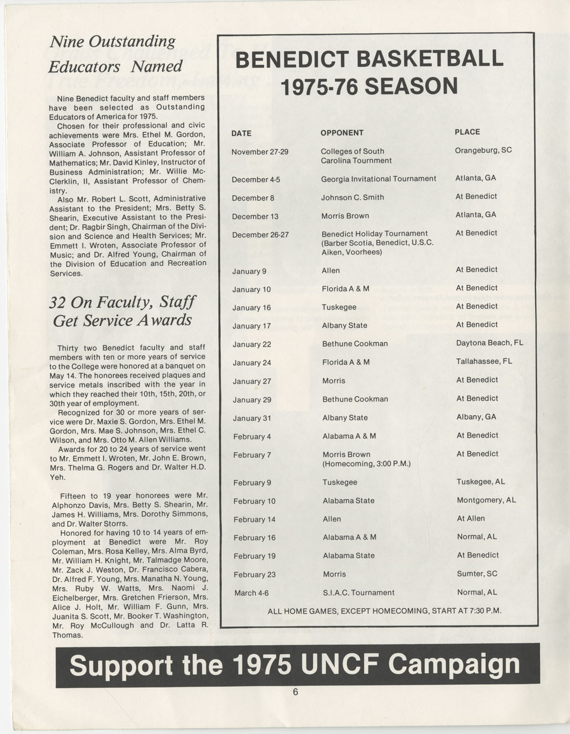 The Benedict Bulletin, September 1975, Page 6
