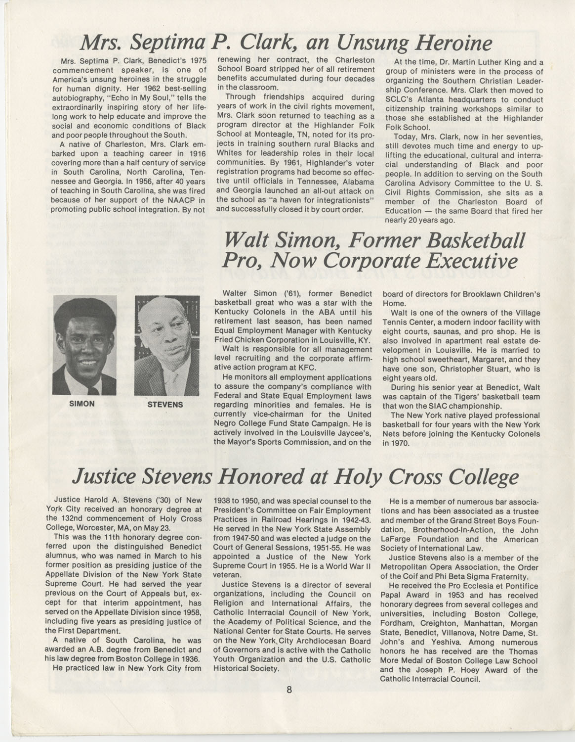 The Benedict Bulletin, September 1975, Page 8