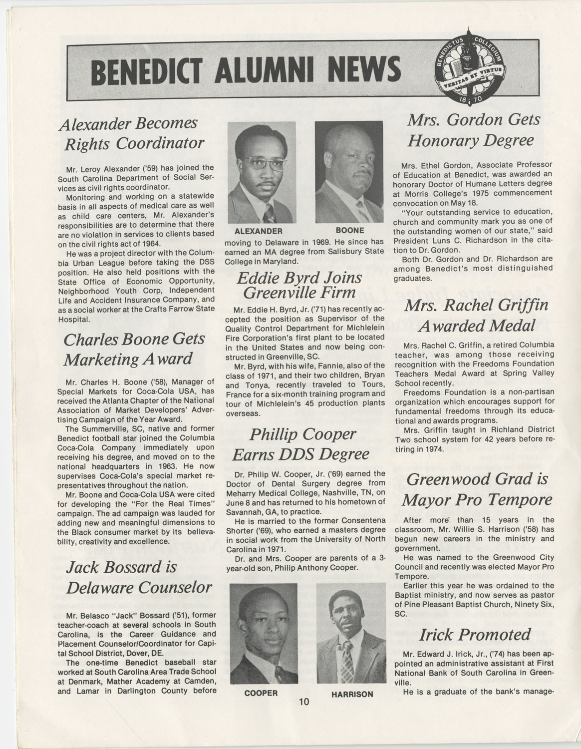 The Benedict Bulletin, September 1975, Page 10