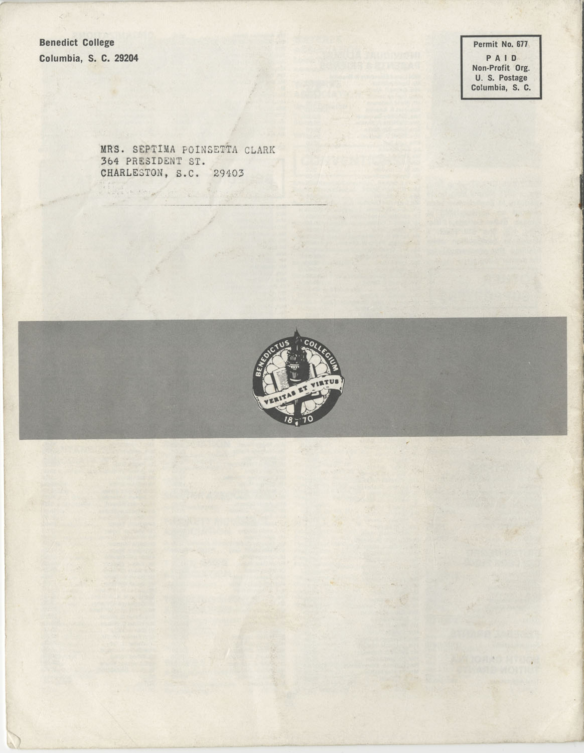 The Benedict Bulletin, September 1975, Back Cover