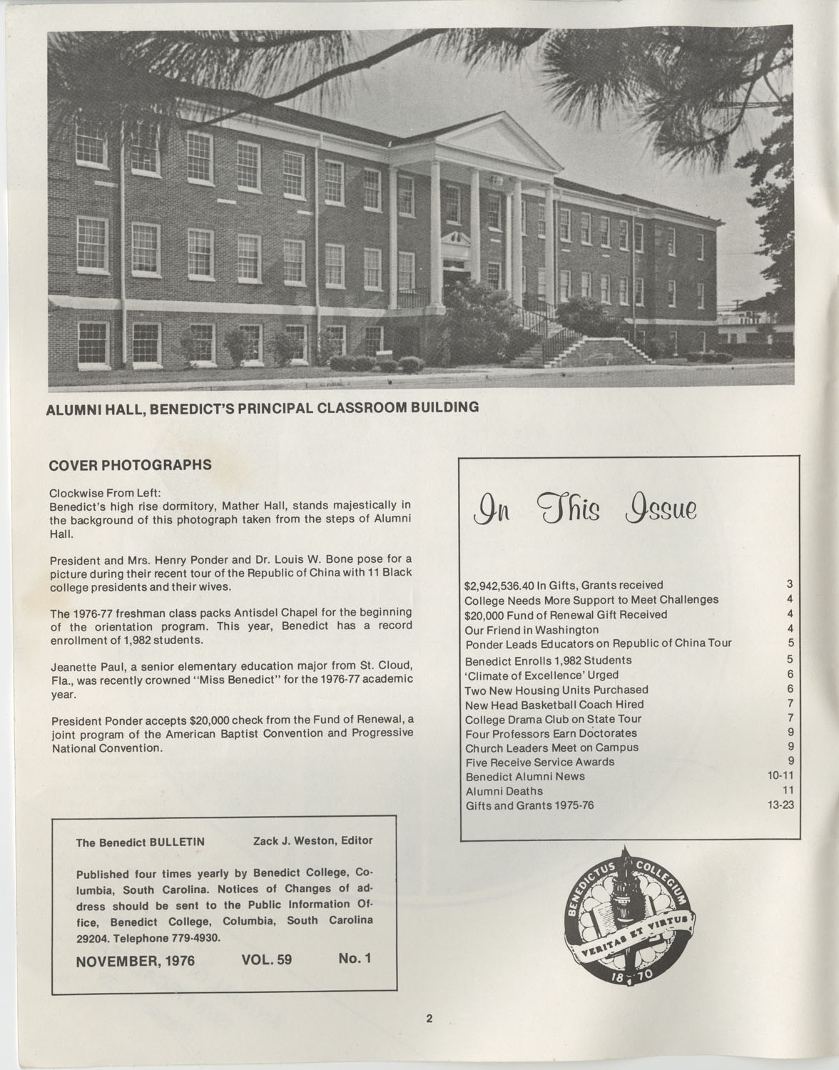 The Benedict Bulletin, October 1976, Page 2