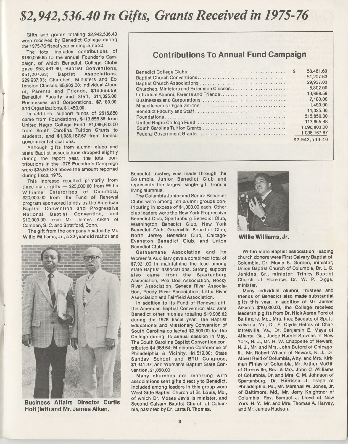 The Benedict Bulletin, October 1976, Page 3