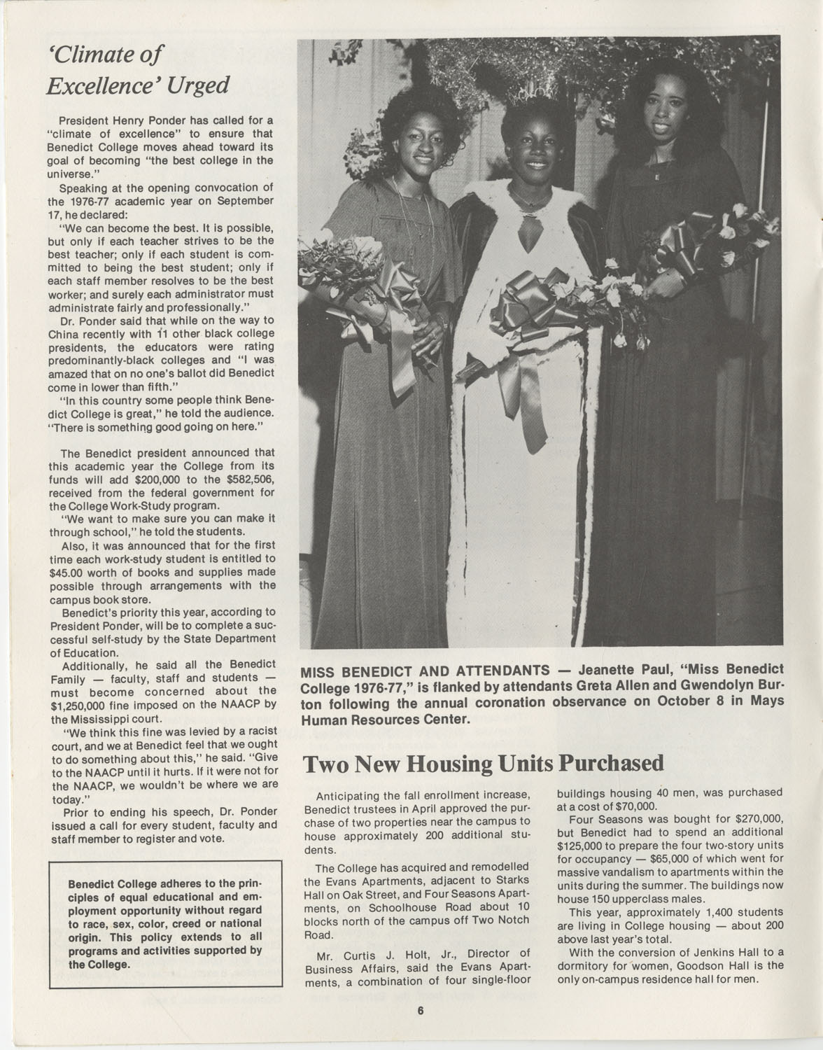 The Benedict Bulletin, October 1976, Page 6