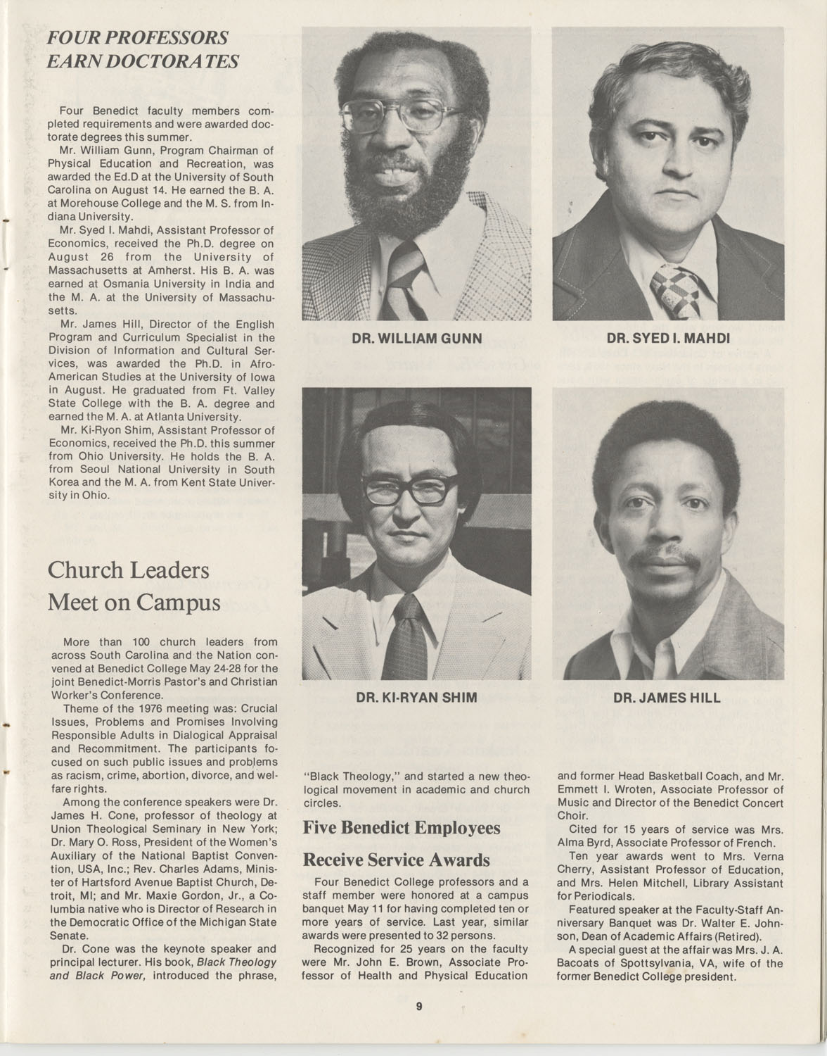 The Benedict Bulletin, October 1976, Page 9