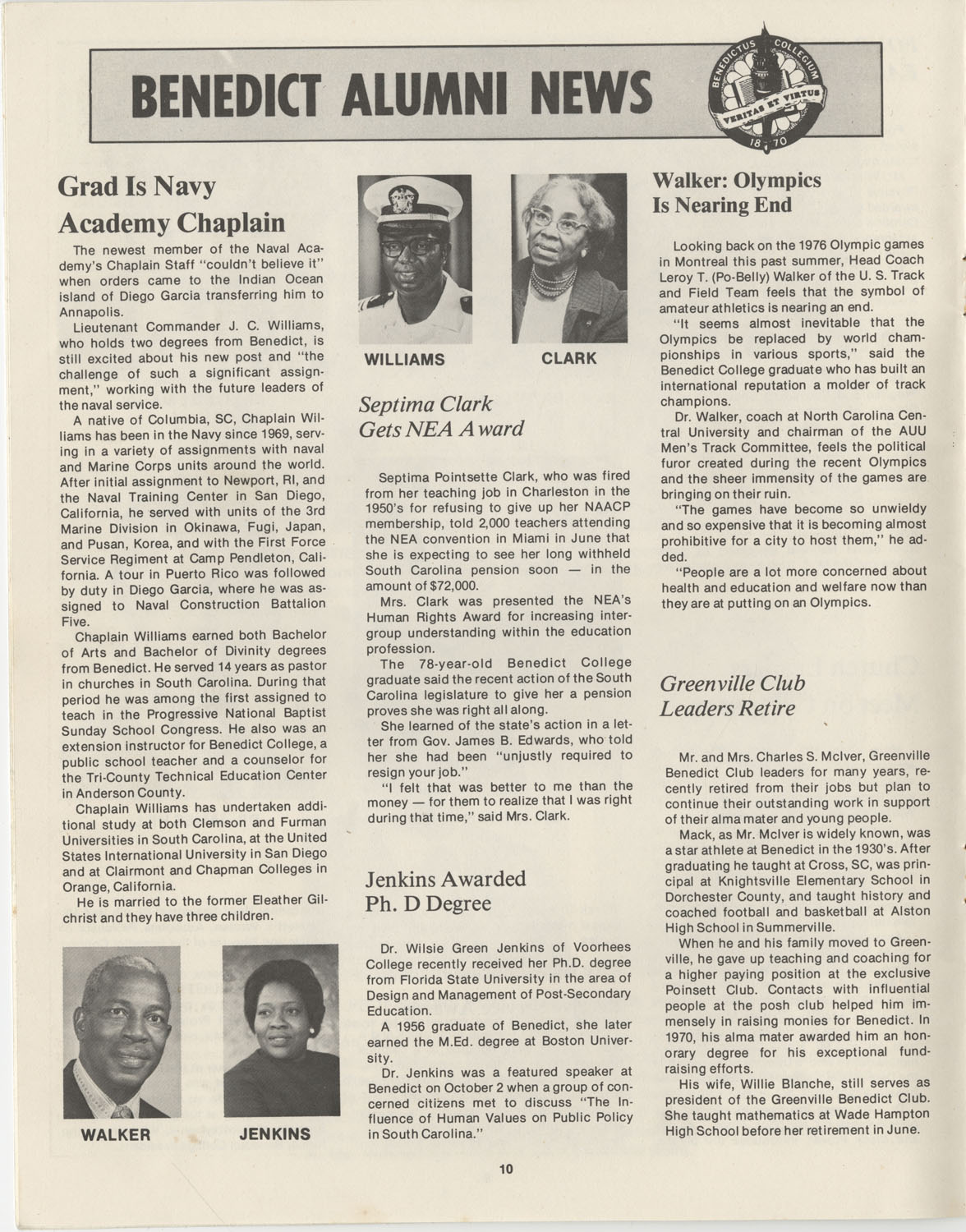 The Benedict Bulletin, October 1976, Page 10