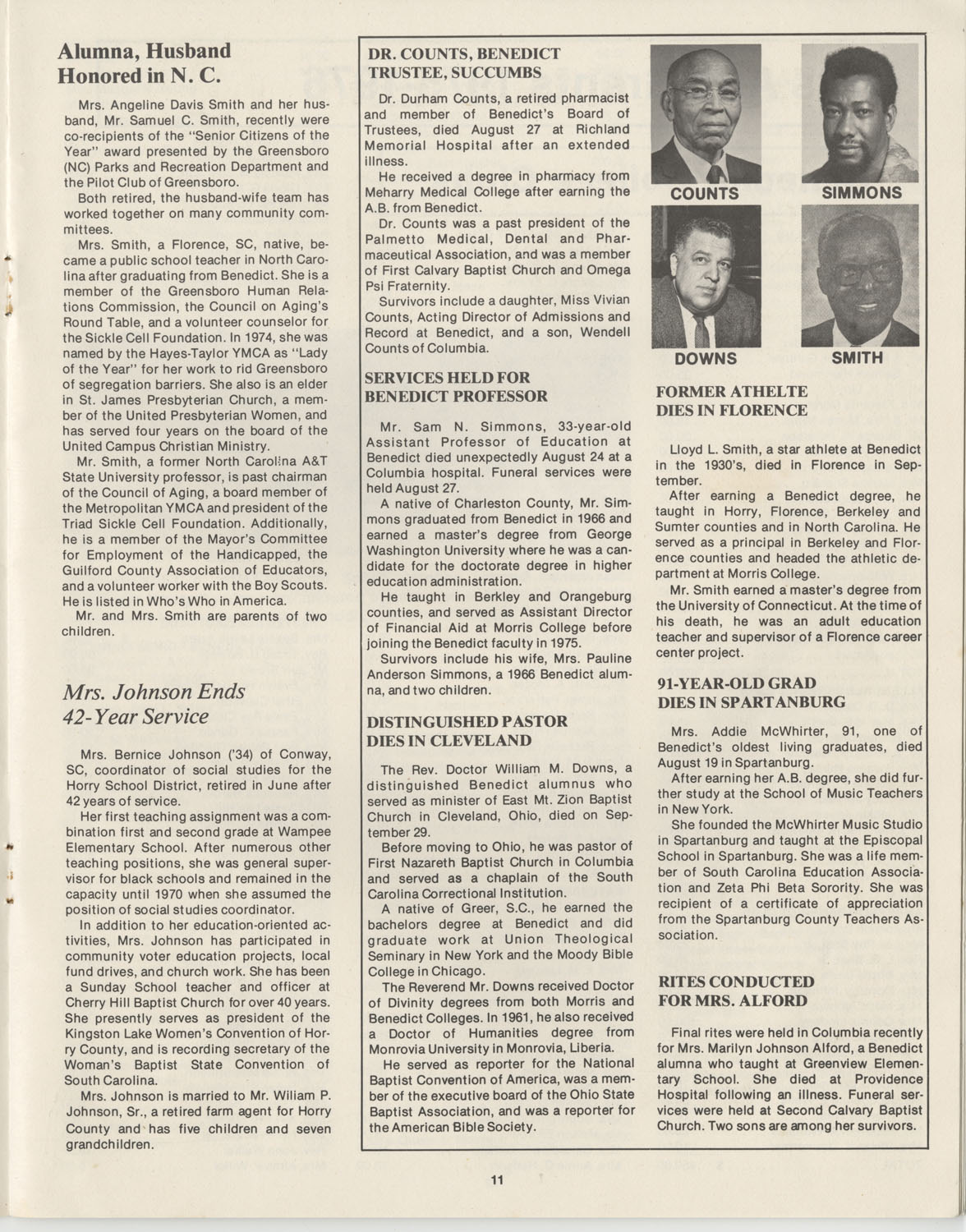 The Benedict Bulletin, October 1976, Page 11