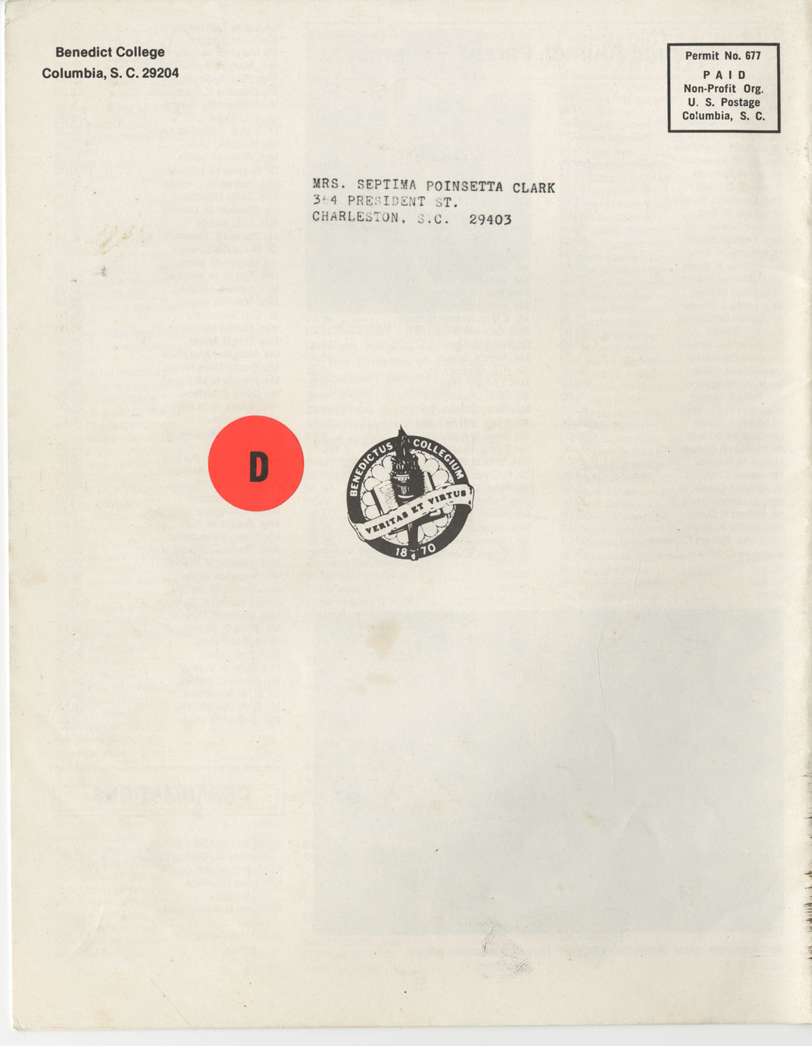 The Benedict Bulletin, October 1976, Back Cover