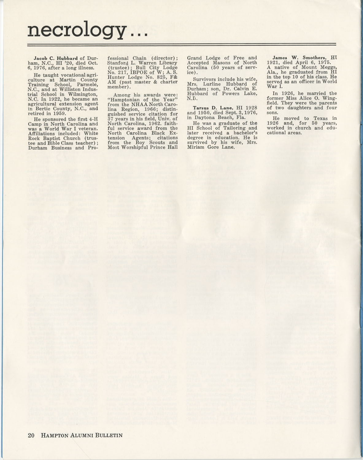 The Hampton Bulletin, Winter 1977, Page 20