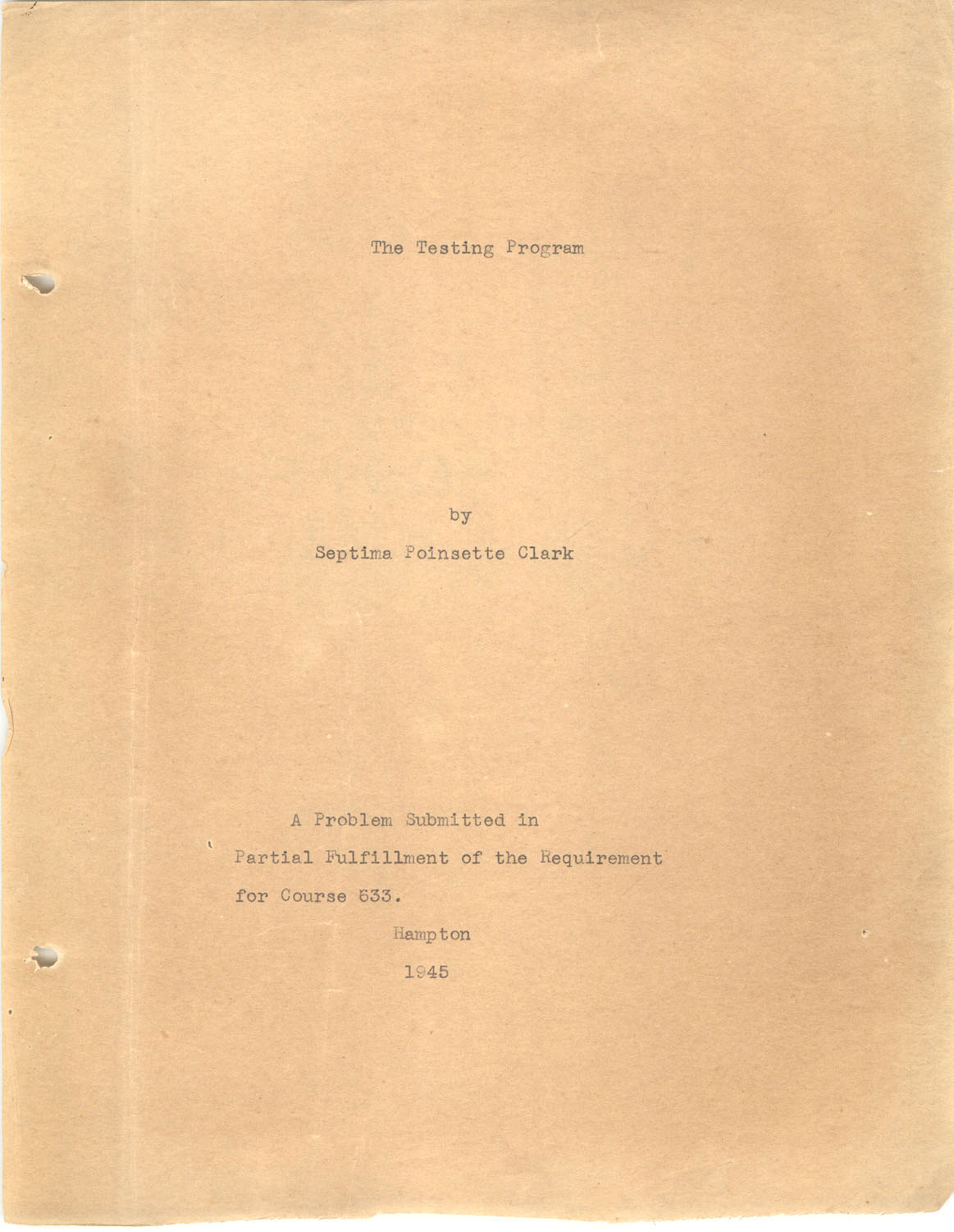 The Testing Program, 1945, Title Page