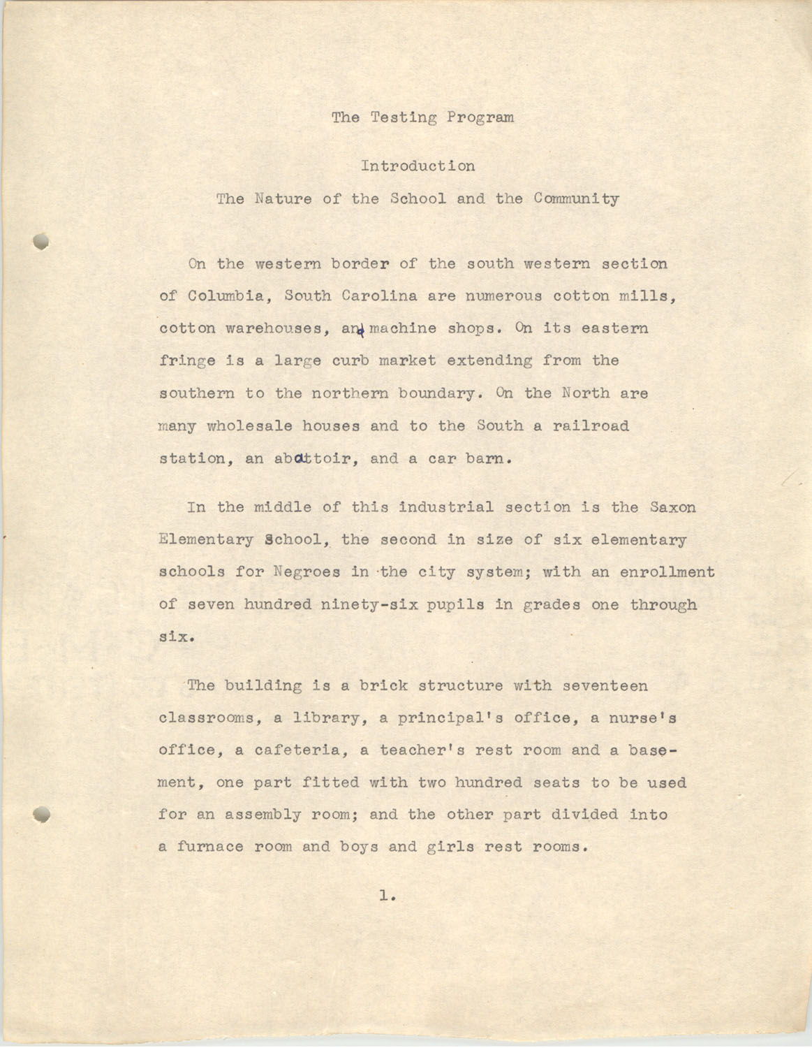 The Testing Program, 1945, Page 1