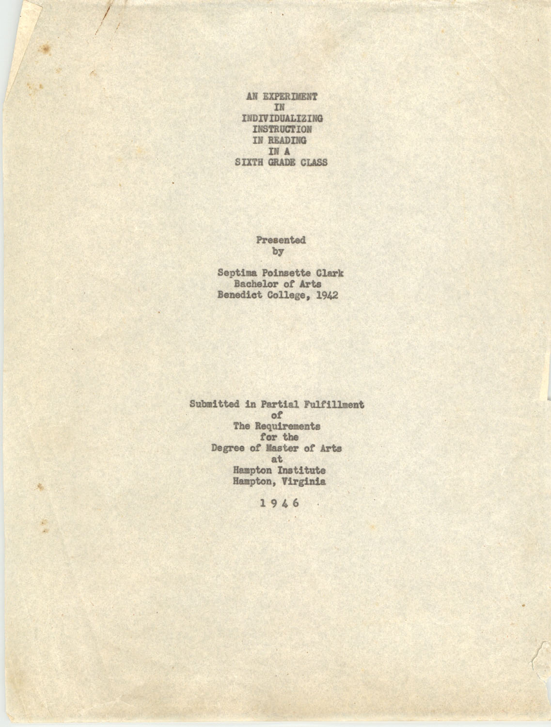 An Experiment in Individualizing Instruction in Reading in a Sixth Grade Class, 1946, Title Page