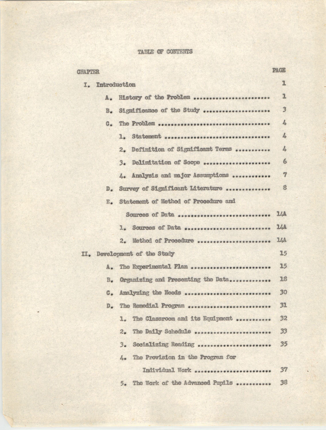 An Experiment in Individualizing Instruction in Reading in a Sixth Grade Class, 1946, Table of Contents