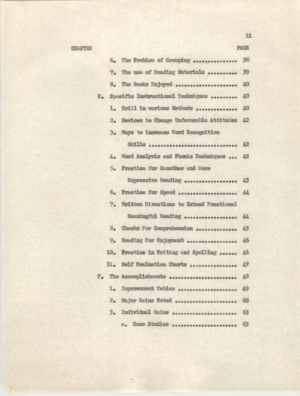An Experiment in Individualizing Instruction in Reading in a Sixth Grade Class, 1946, Table of Contents 11a