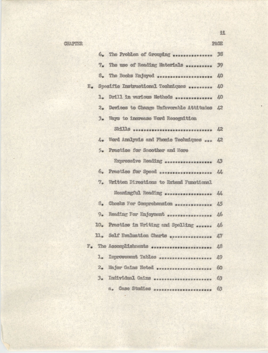 An Experiment in Individualizing Instruction in Reading in a Sixth Grade Class, 1946, Table of Contents 11b