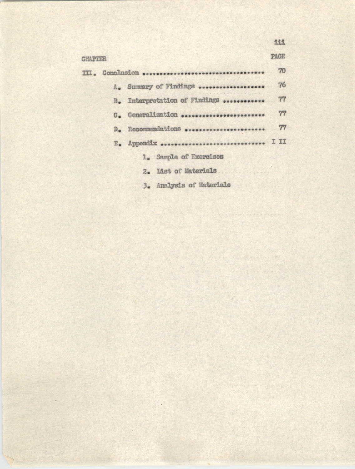 An Experiment in Individualizing Instruction in Reading in a Sixth Grade Class, 1946, Table of Contents 111